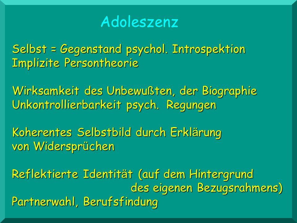 Adoleszenz Selbst = Gegenstand psychol. Introspektion Implizite Persontheorie.