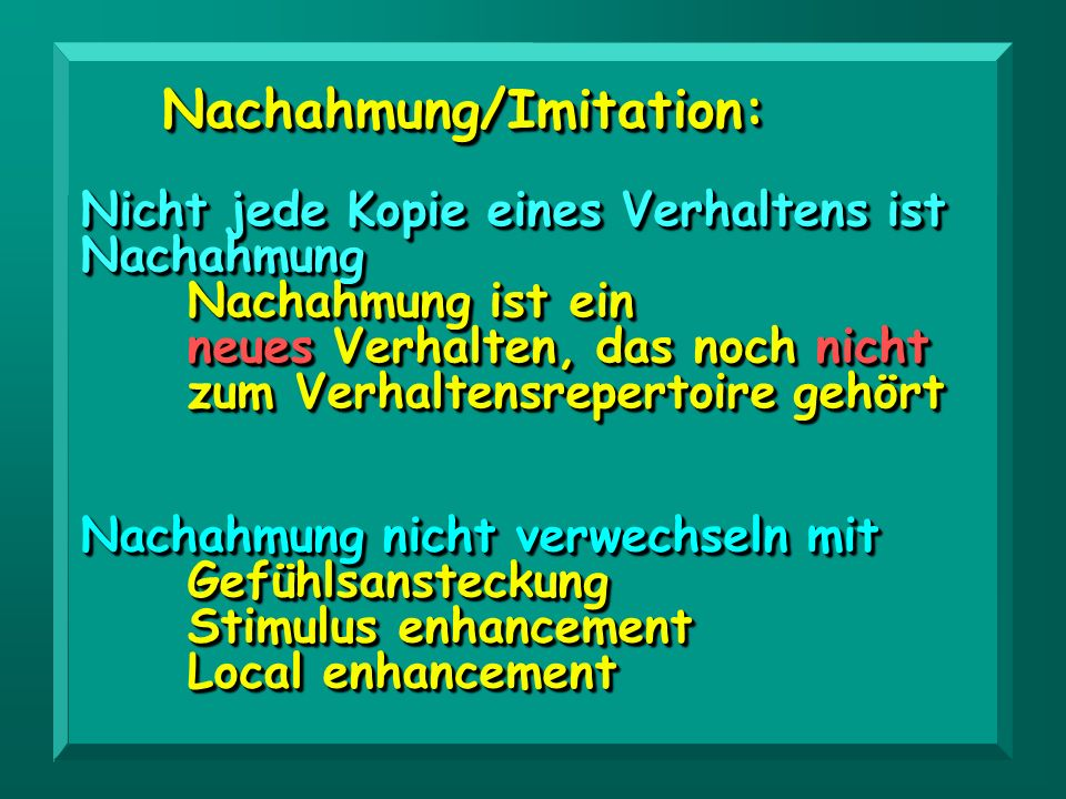 Nachahmung/Imitation: