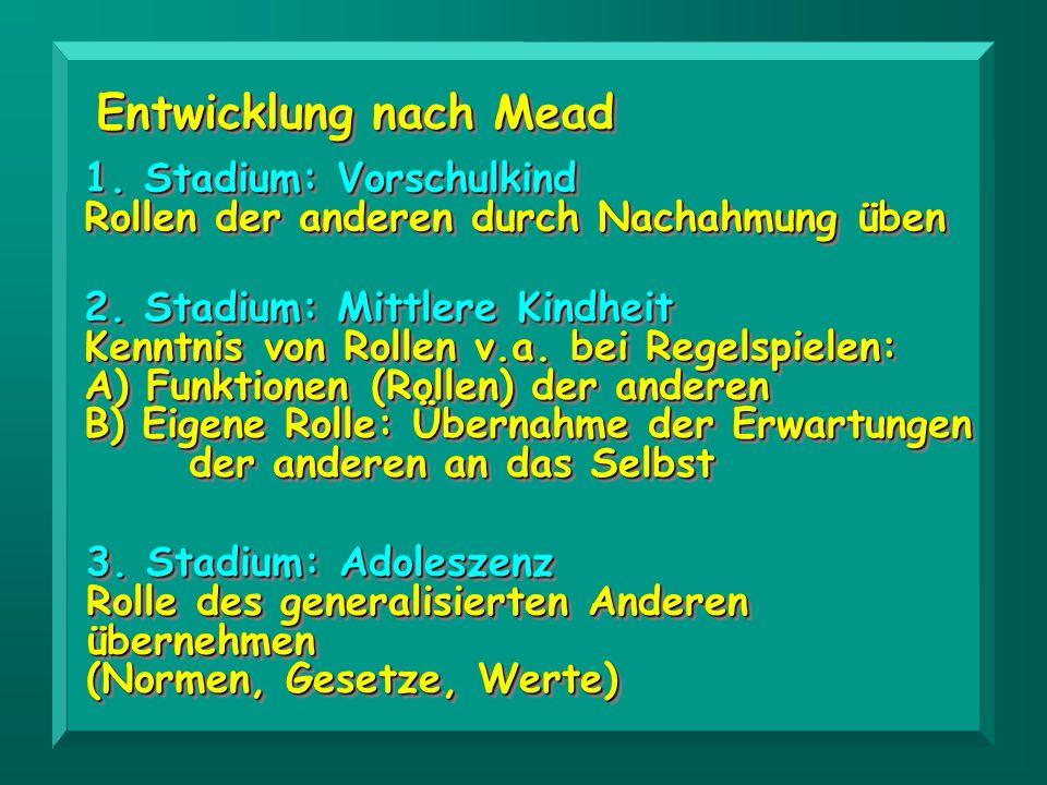Entwicklung nach Mead 1. Stadium: Vorschulkind