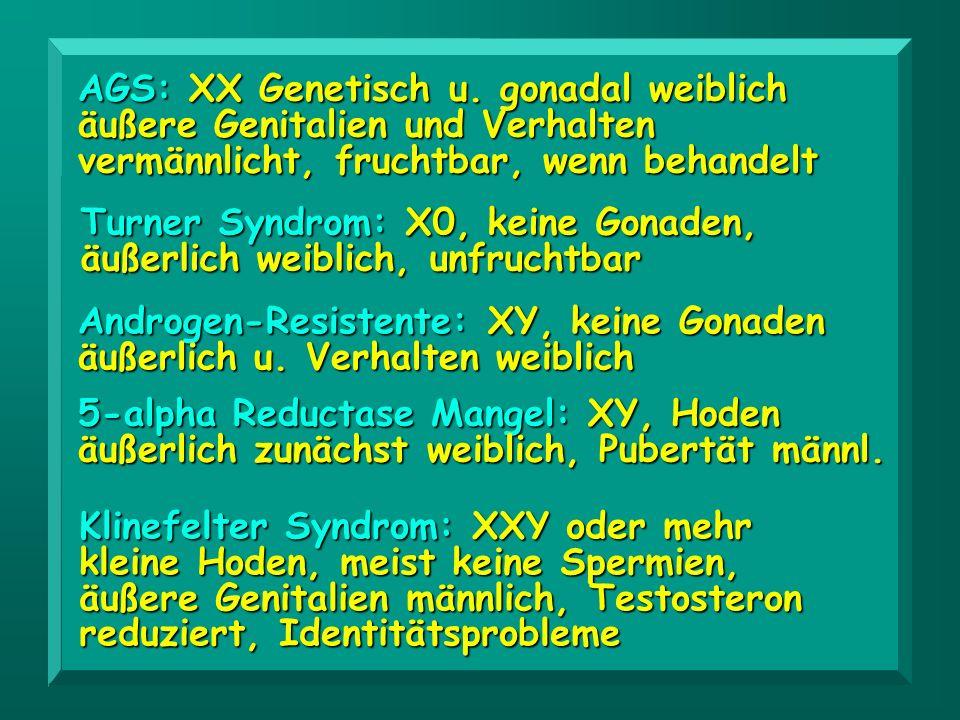 AGS: XX Genetisch u. gonadal weiblich