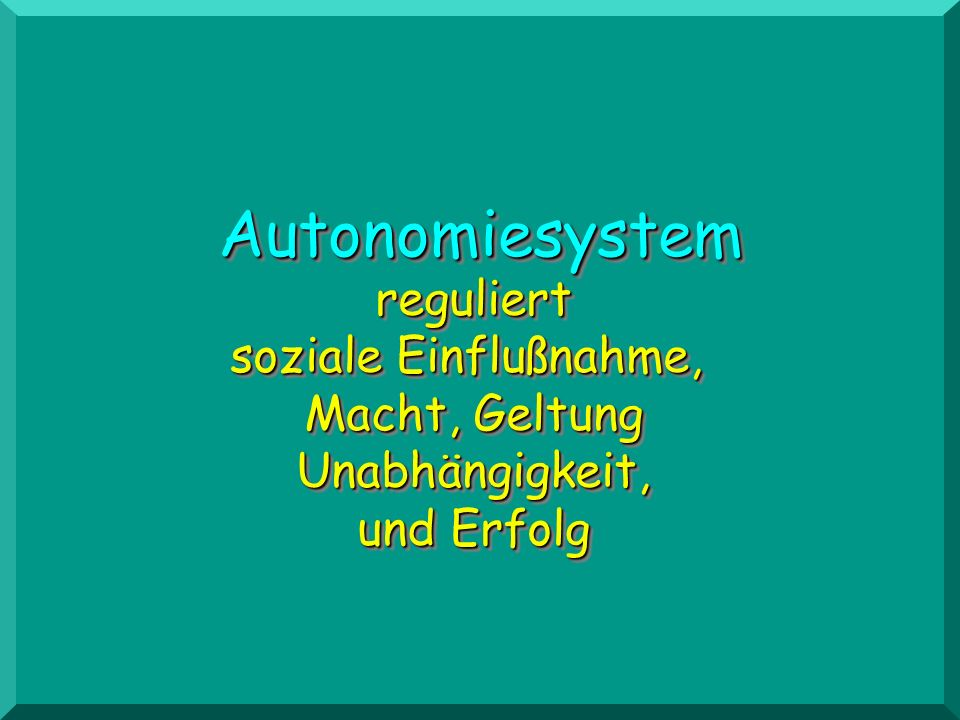 Autonomiesystem reguliert soziale Einflußnahme, Macht, Geltung Unabhängigkeit, und Erfolg