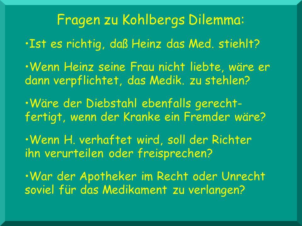 Fragen zu Kohlbergs Dilemma: