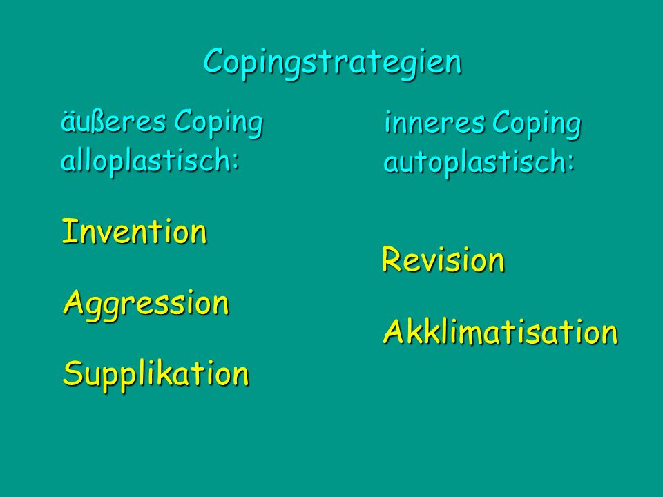 Copingstrategien Invention Revision Aggression Akklimatisation