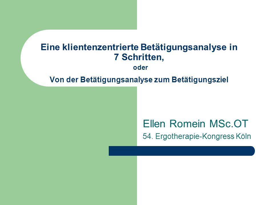 Ellen Romein MSc.OT 54. Ergotherapie-Kongress Köln