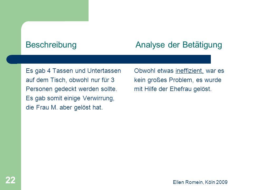 Beschreibung Analyse der Betätigung