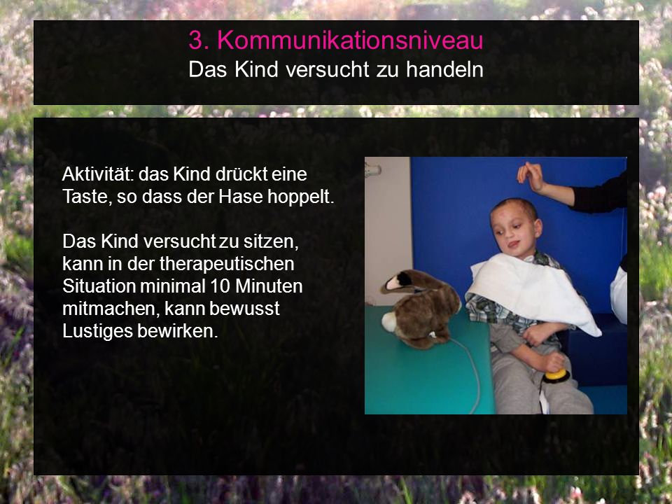 3. Kommunikationsniveau Das Kind versucht zu handeln