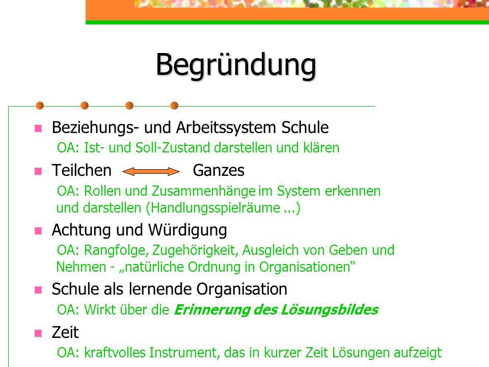 BegründungBeziehungs- und Arbeitssystem Schule OA: Ist- und Soll-Zustand darstellen und klären.