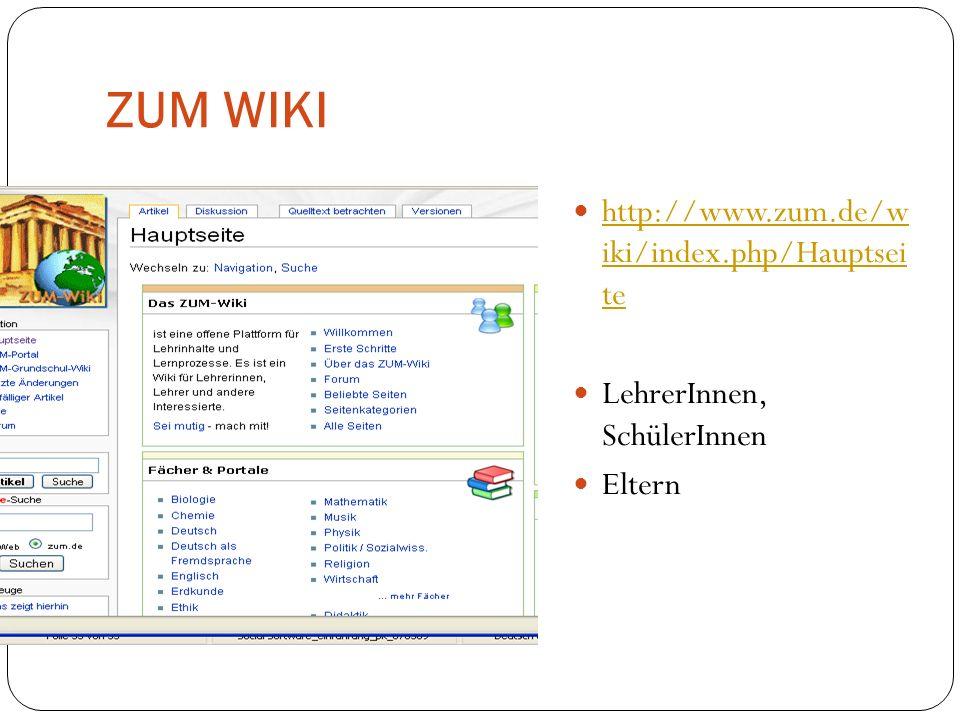 ZUM WIKI http://www.zum.de/w iki/index.php/Hauptsei te