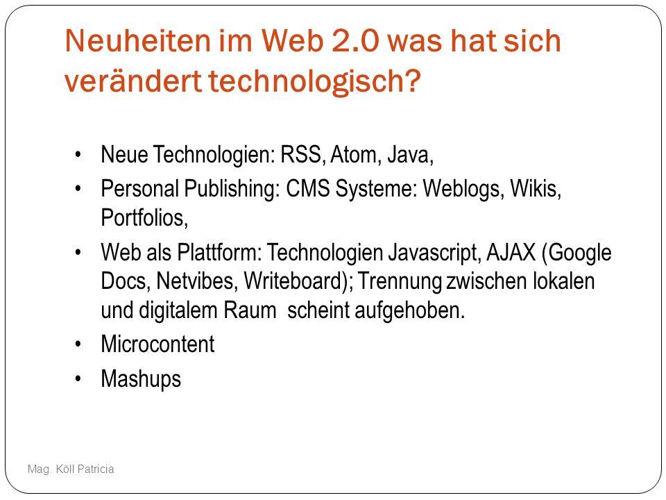 Neuheiten im Web 2.0 was hat sich verändert technologisch