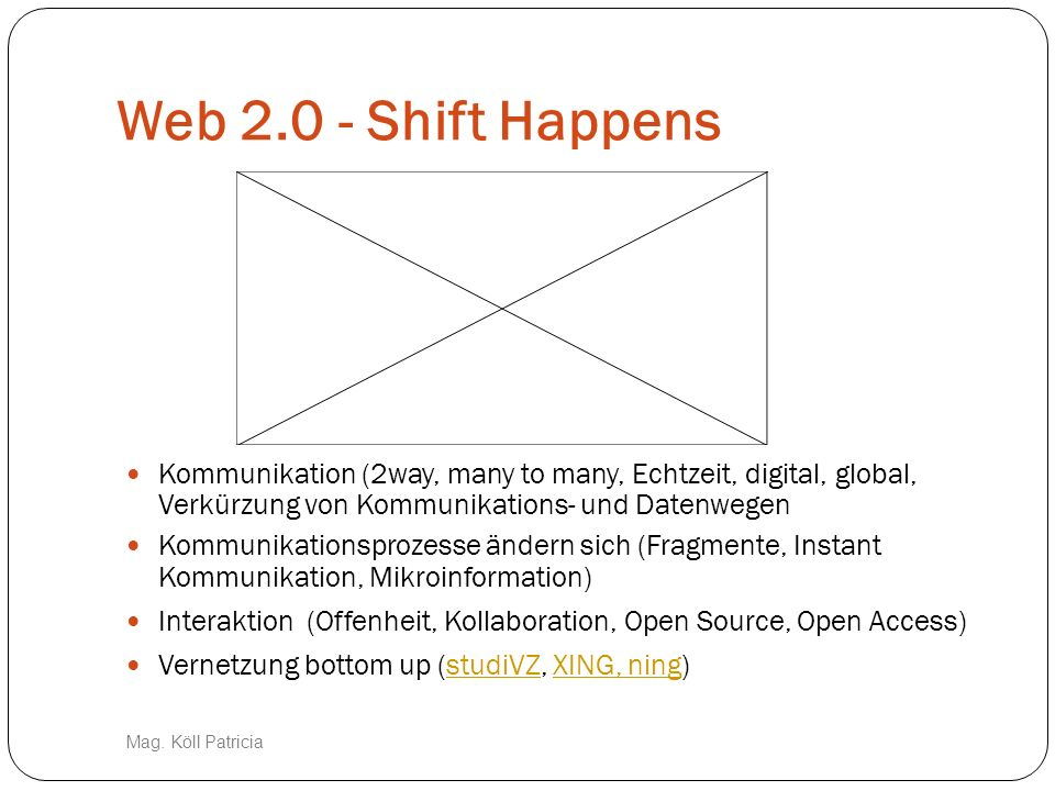 Web 2.0 - Shift Happens Kommunikation (2way, many to many, Echtzeit, digital, global, Verkürzung von Kommunikations- und Datenwegen.