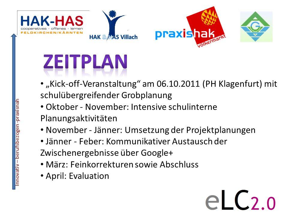 """Zeitplan """"Kick-off-Veranstaltung am 06.10.2011 (PH Klagenfurt) mit schulübergreifender Grobplanung."""