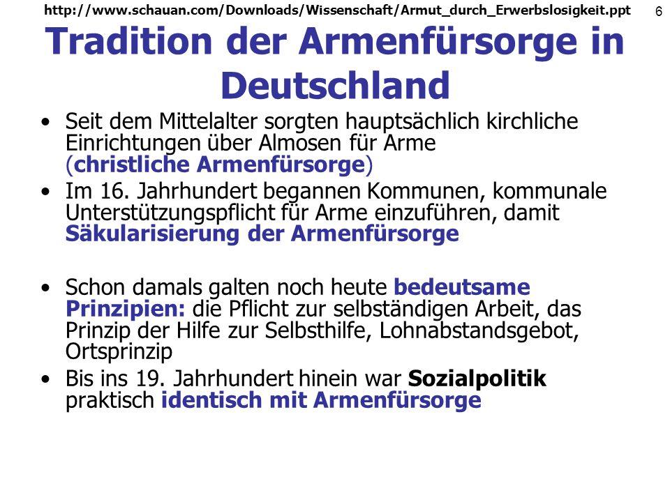 Tradition der Armenfürsorge in Deutschland