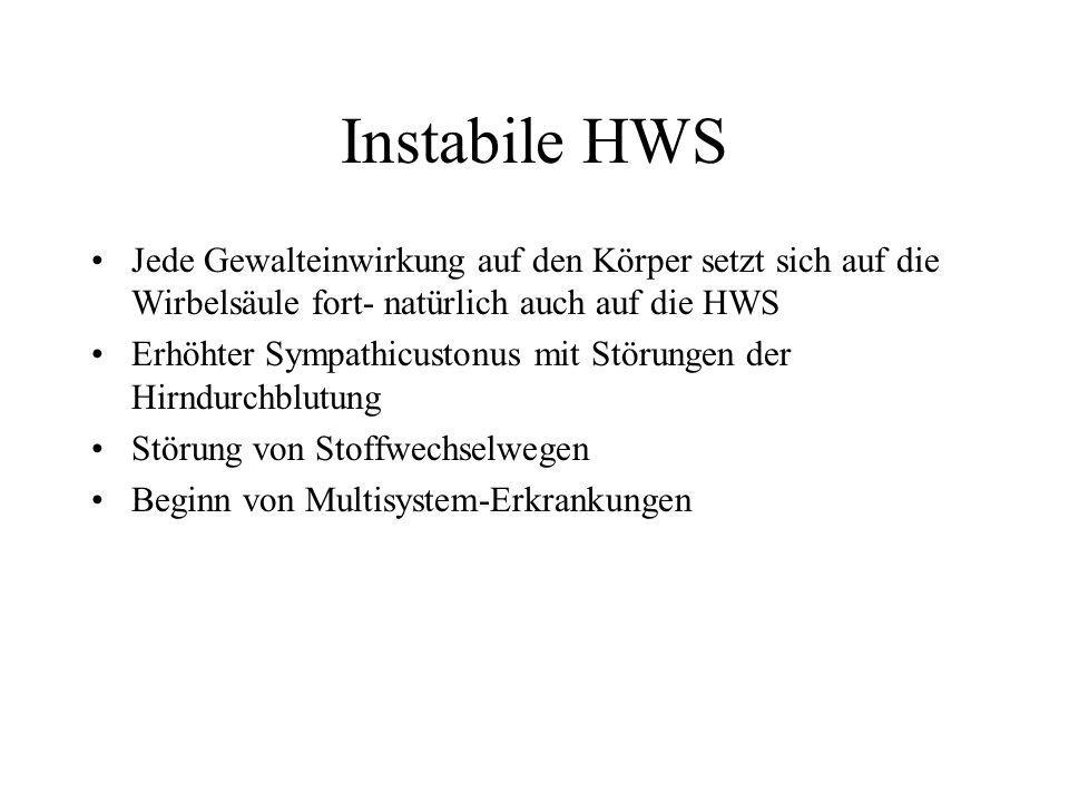 Instabile HWS Jede Gewalteinwirkung auf den Körper setzt sich auf die Wirbelsäule fort- natürlich auch auf die HWS.
