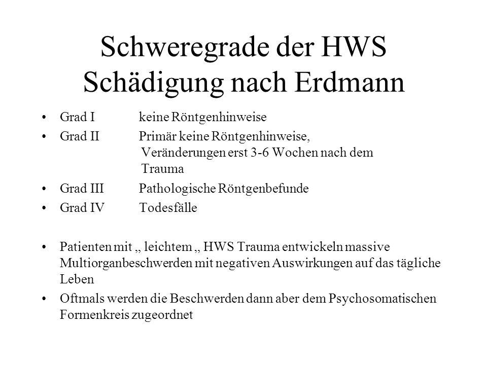 Schweregrade der HWS Schädigung nach Erdmann