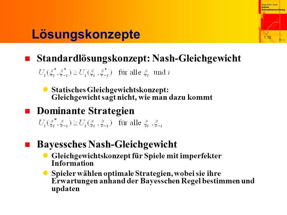 Lösungskonzepte Standardlösungskonzept: Nash-Gleichgewicht