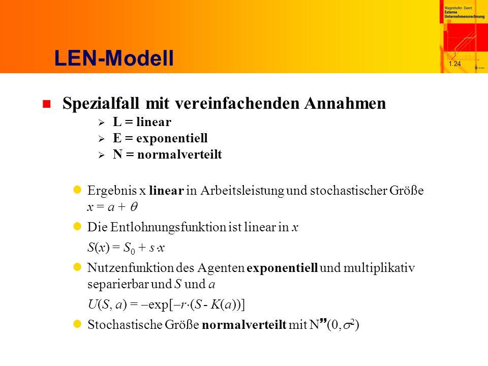 LEN-Modell Spezialfall mit vereinfachenden Annahmen L = linear