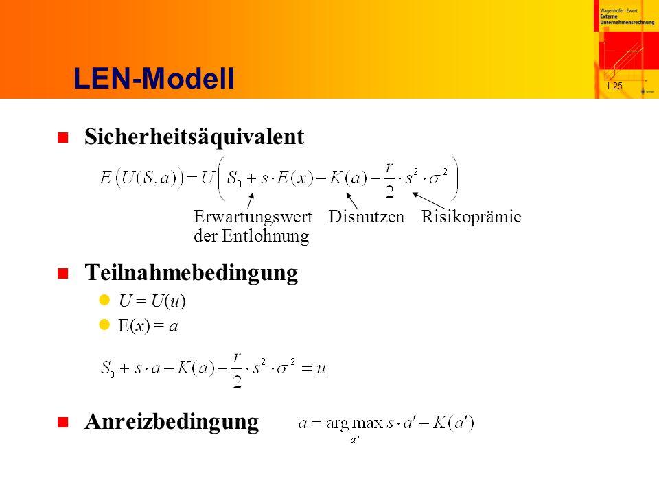 LEN-Modell Sicherheitsäquivalent Teilnahmebedingung Anreizbedingung