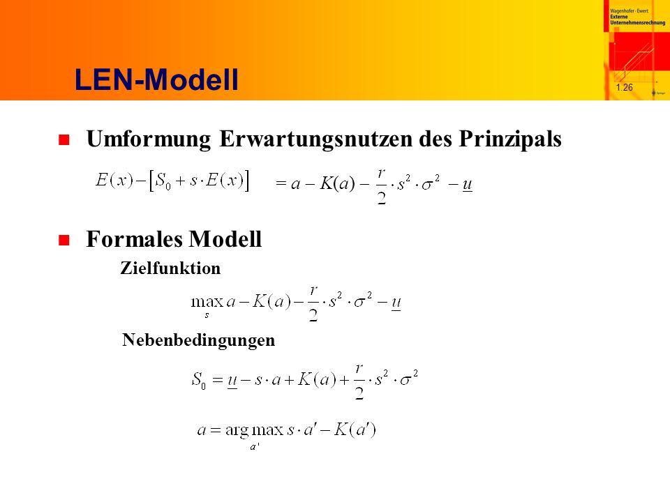 LEN-Modell Umformung Erwartungsnutzen des Prinzipals Formales Modell