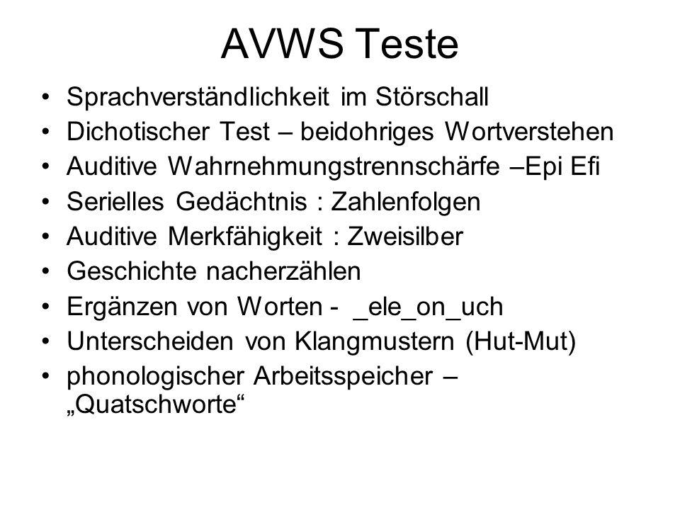 AVWS Teste Sprachverständlichkeit im Störschall