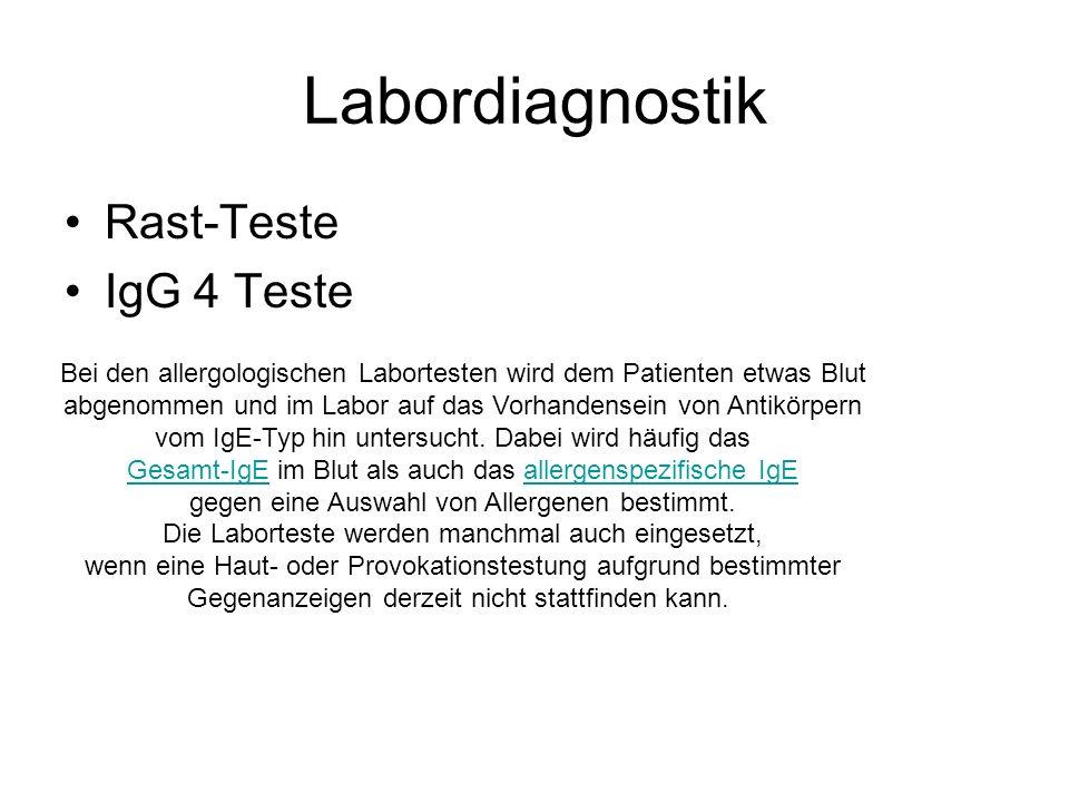Labordiagnostik Rast-Teste IgG 4 Teste