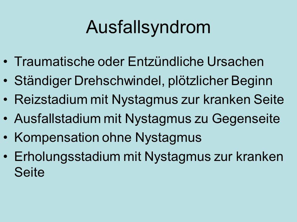 Ausfallsyndrom Traumatische oder Entzündliche Ursachen
