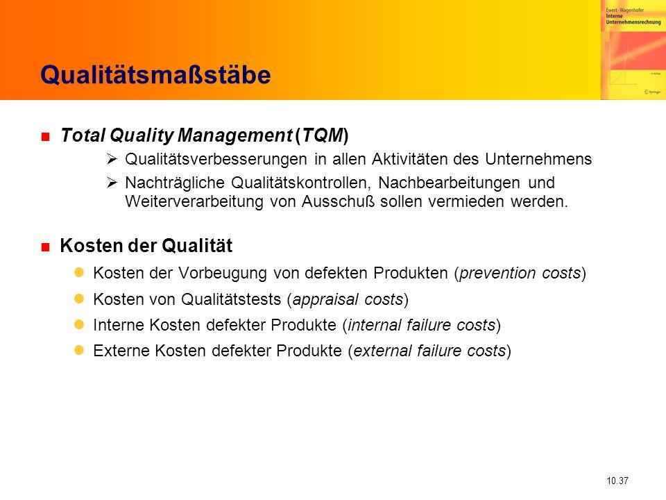 Qualitätsmaßstäbe Total Quality Management (TQM) Kosten der Qualität