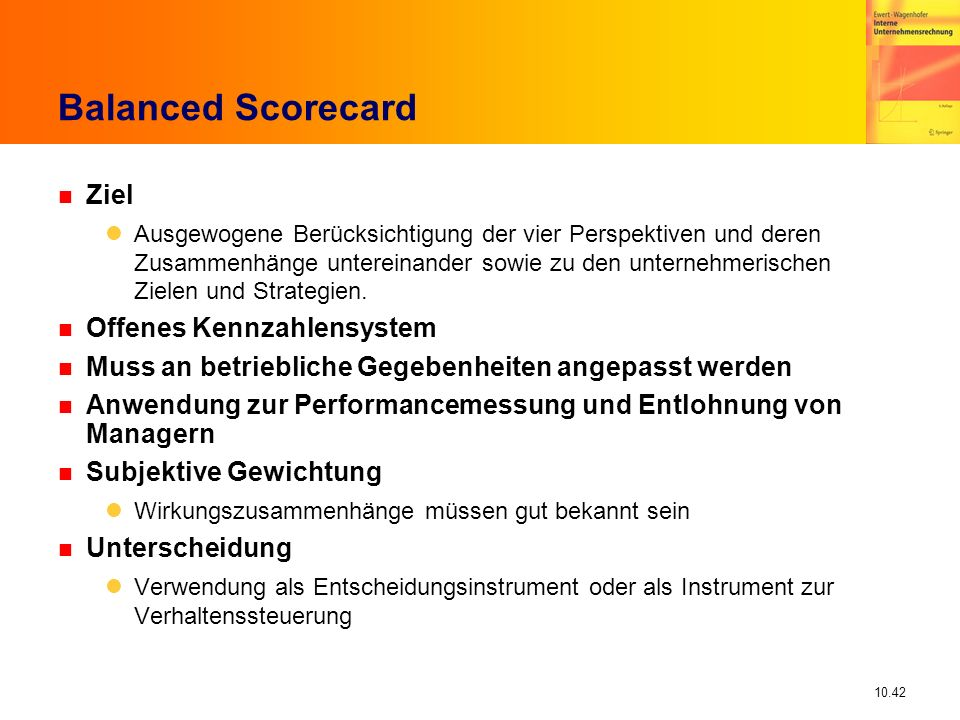 Balanced Scorecard Ziel Offenes Kennzahlensystem