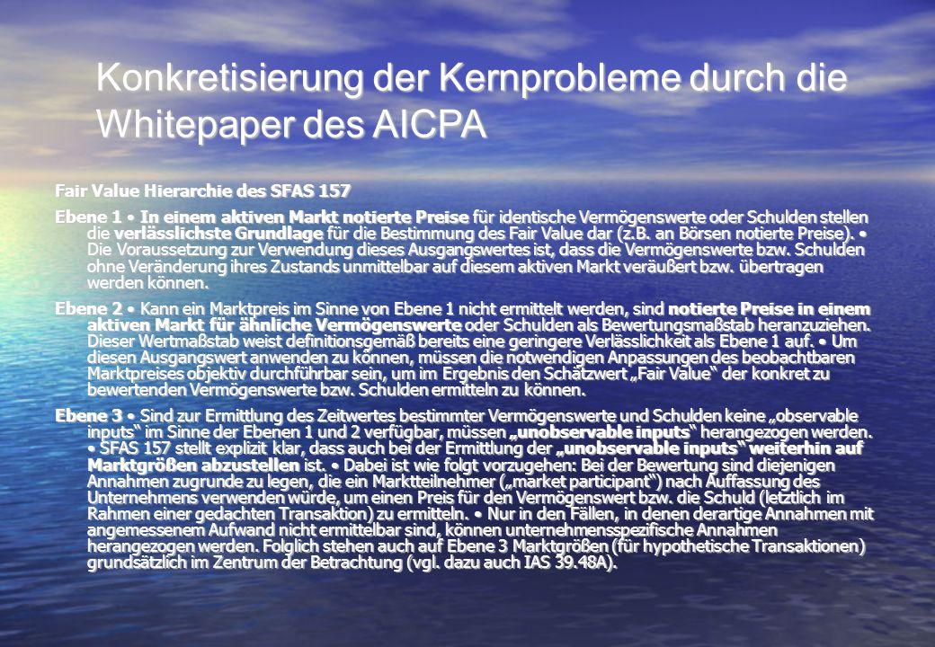 Konkretisierung der Kernprobleme durch die Whitepaper des AICPA