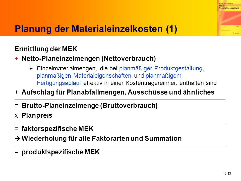Planung der Materialeinzelkosten (1)