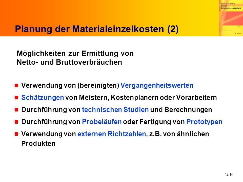 Planung der Materialeinzelkosten (2)