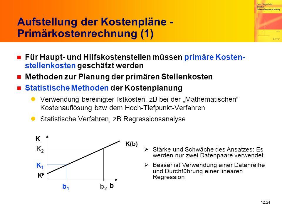 Aufstellung der Kostenpläne - Primärkostenrechnung (1)