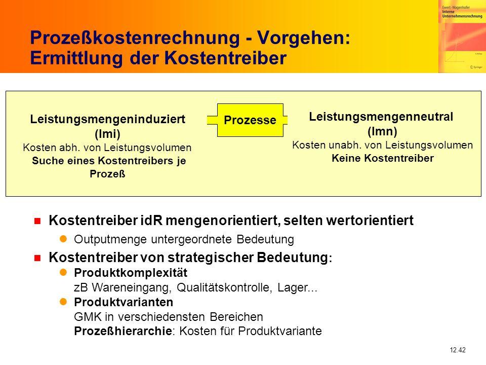Prozeßkostenrechnung - Vorgehen: Ermittlung der Kostentreiber