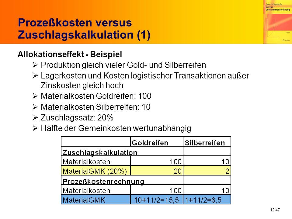 Prozeßkosten versus Zuschlagskalkulation (1)