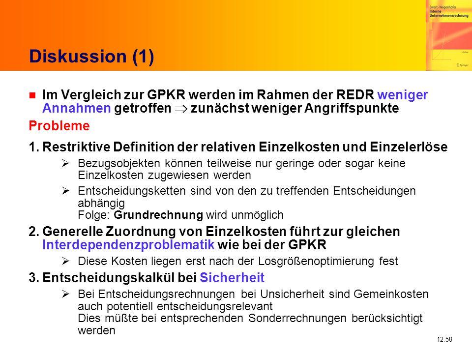 Diskussion (1) Im Vergleich zur GPKR werden im Rahmen der REDR weniger Annahmen getroffen  zunächst weniger Angriffspunkte.