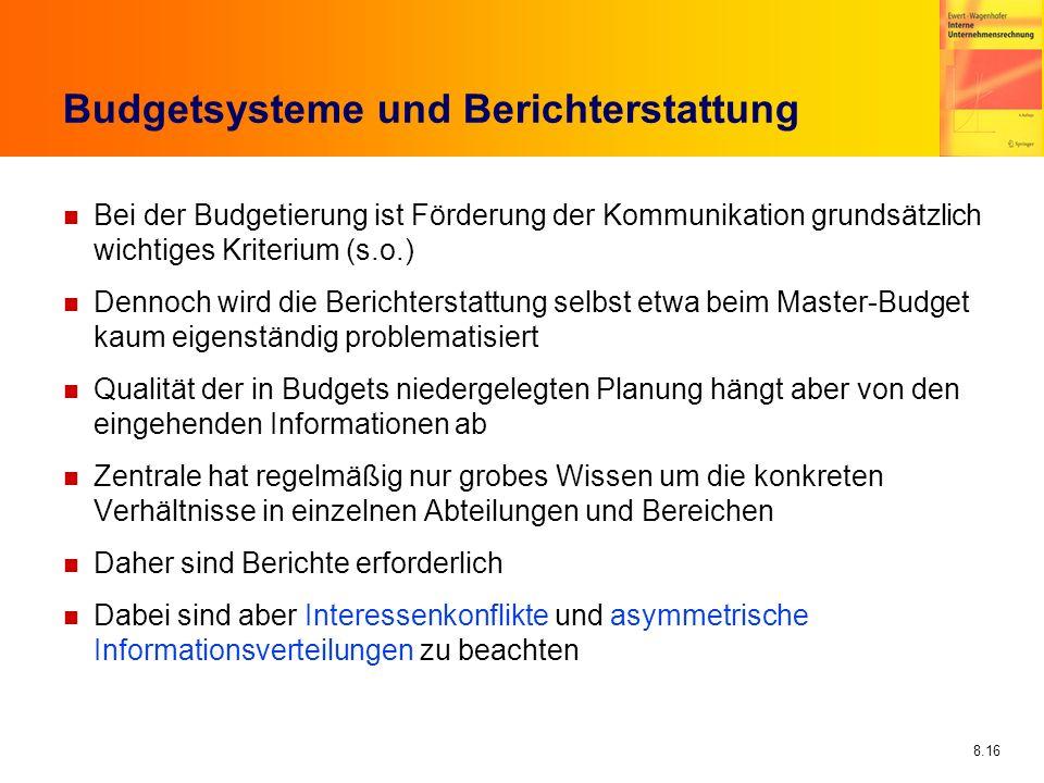 Budgetsysteme und Berichterstattung