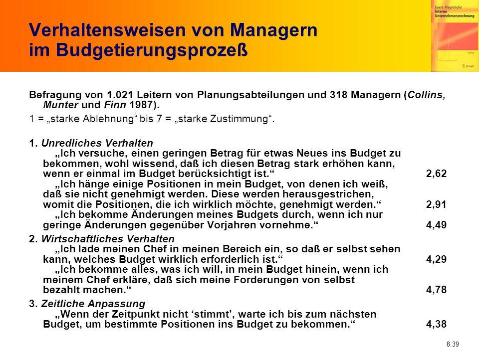 Verhaltensweisen von Managern im Budgetierungsprozeß