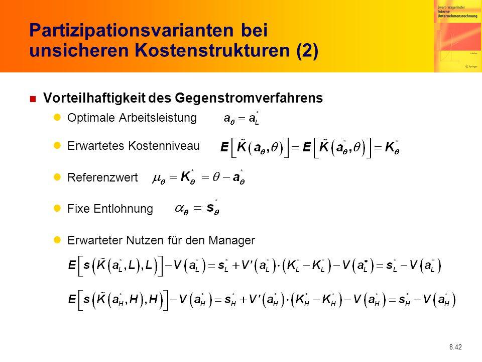 Partizipationsvarianten bei unsicheren Kostenstrukturen (2)