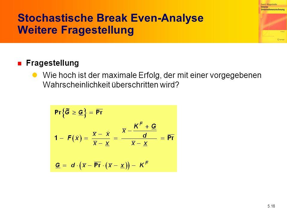 Stochastische Break Even-Analyse Weitere Fragestellung