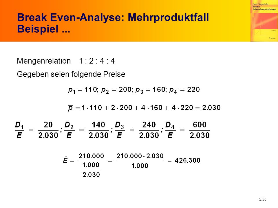 Break Even-Analyse: Mehrproduktfall Beispiel ...