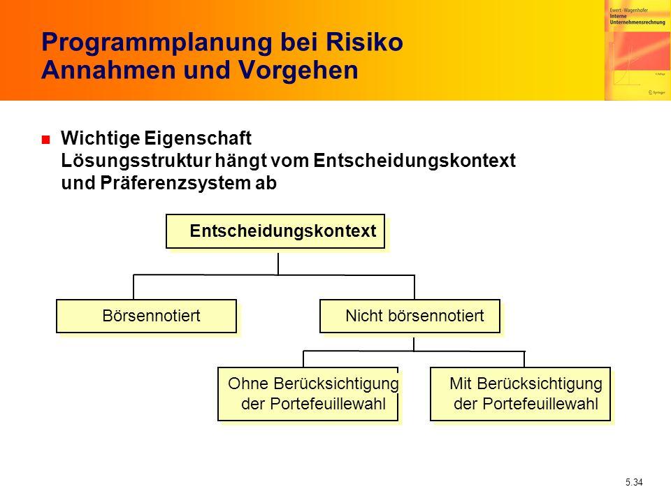Programmplanung bei Risiko Annahmen und Vorgehen