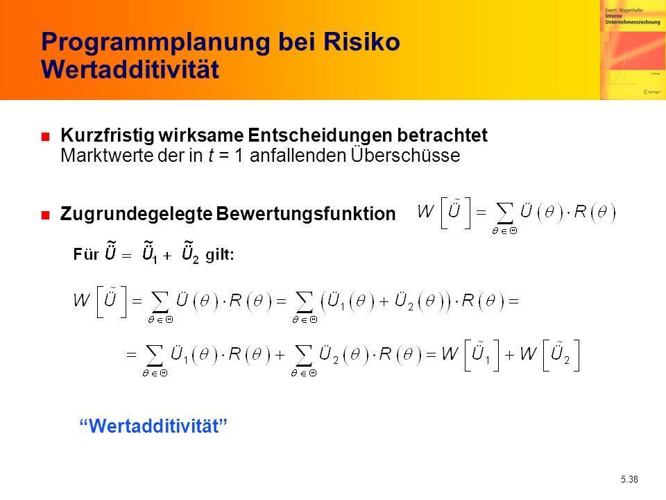 Programmplanung bei Risiko Wertadditivität
