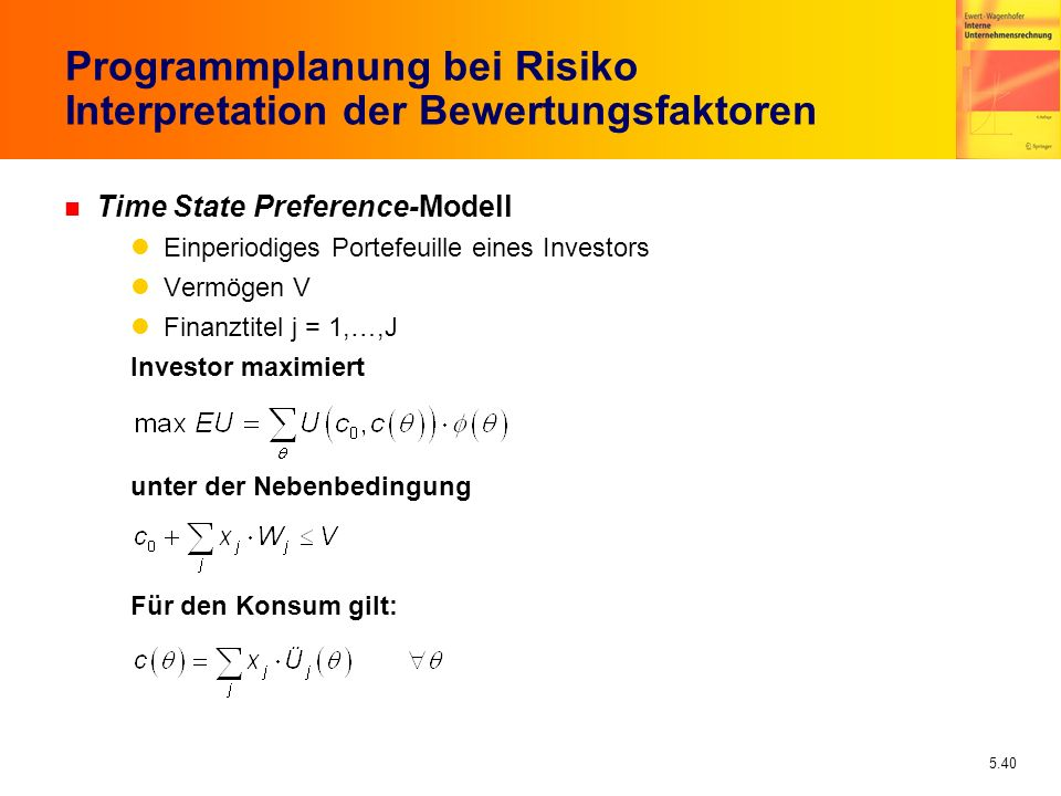 Programmplanung bei Risiko Interpretation der Bewertungsfaktoren