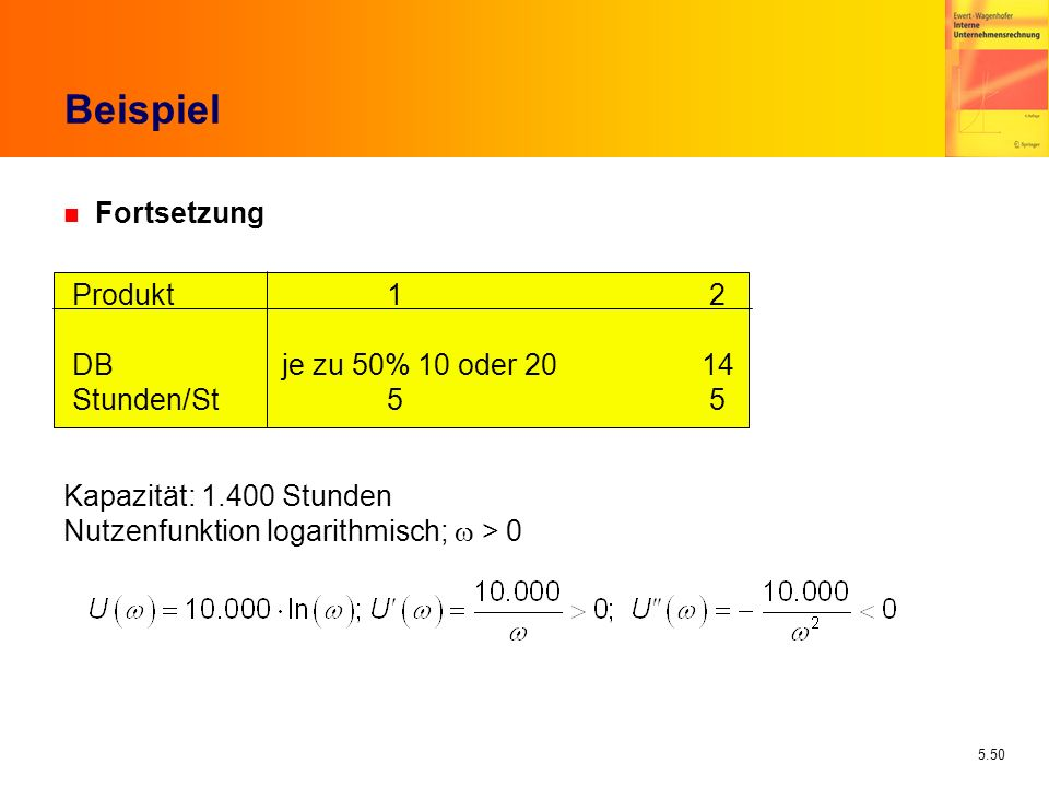 Beispiel Fortsetzung Produkt 1 2 DB je zu 50% 10 oder 20 14