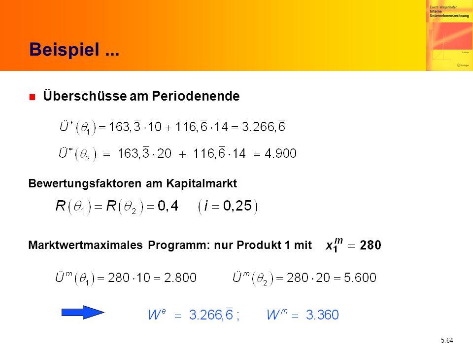 Beispiel ... Überschüsse am Periodenende