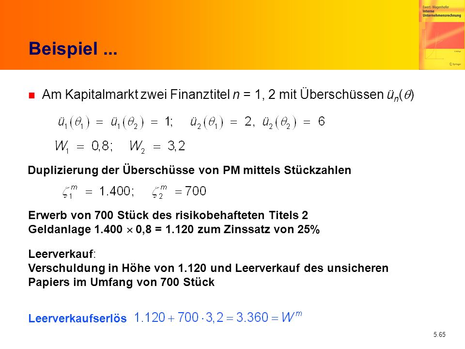 Beispiel ... Am Kapitalmarkt zwei Finanztitel n = 1, 2 mit Überschüssen ün(q) Duplizierung der Überschüsse von PM mittels Stückzahlen.