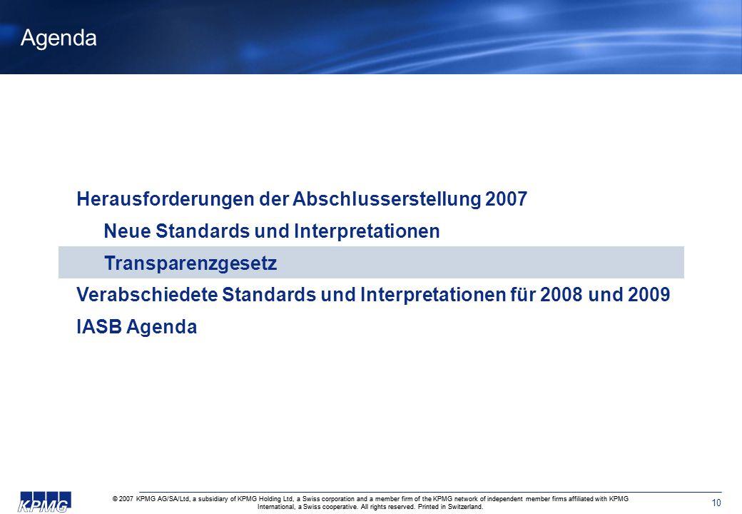 Agenda Herausforderungen der Abschlusserstellung 2007