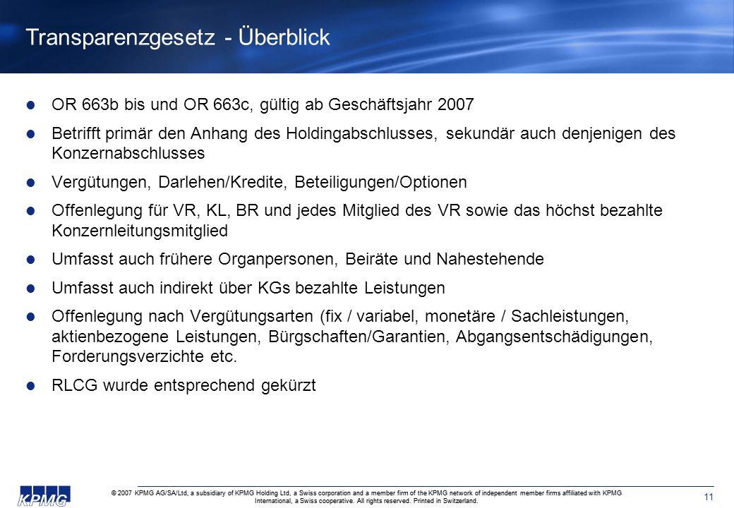 Transparenzgesetz - Überblick