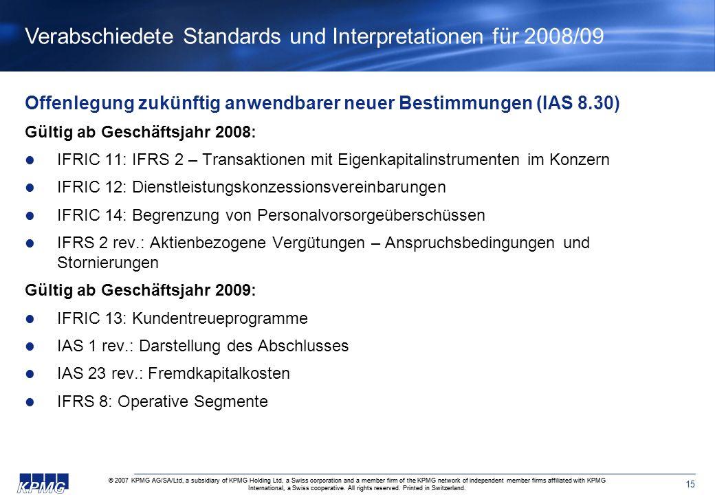 Verabschiedete Standards und Interpretationen für 2008/09