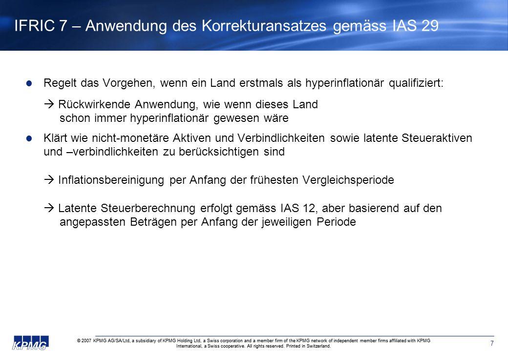 IFRIC 7 – Anwendung des Korrekturansatzes gemäss IAS 29