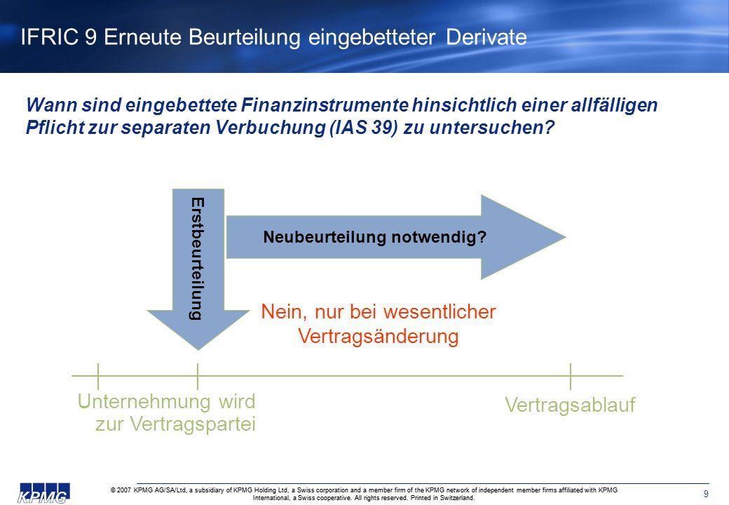 IFRIC 9 Erneute Beurteilung eingebetteter Derivate